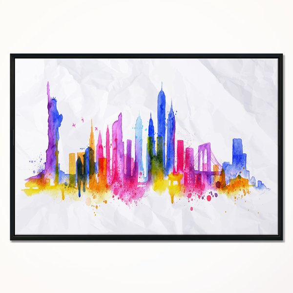600x600 East Urban Home Silhouette Overlay New York' Framed Graphic Art