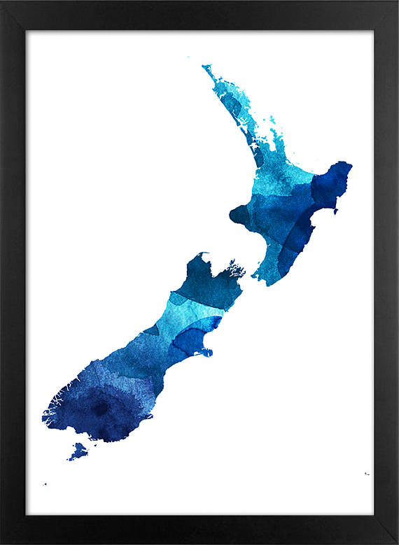 570x779 New Zealand Map Print New Zealand Map Color Silhouette New