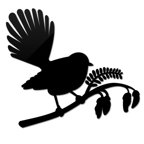 500x500 Small Fantail On Kowhai. Like The Silhouette Style New Zealand