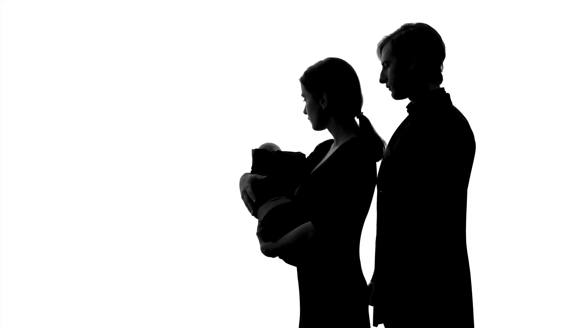 1920x1080 Silhouette Of Young Couple With Newborn Baby, Love And Care