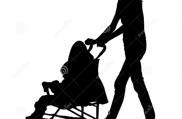 640x420 Silhouettes Walkings Mothers With Baby Strollers Stock For Newborn