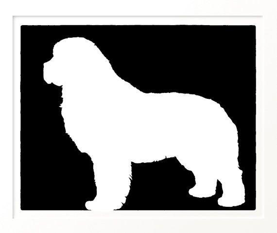 570x481 Mod Newfoundland Newfie Dog 8x10 Silhouette Art By Moddogshop
