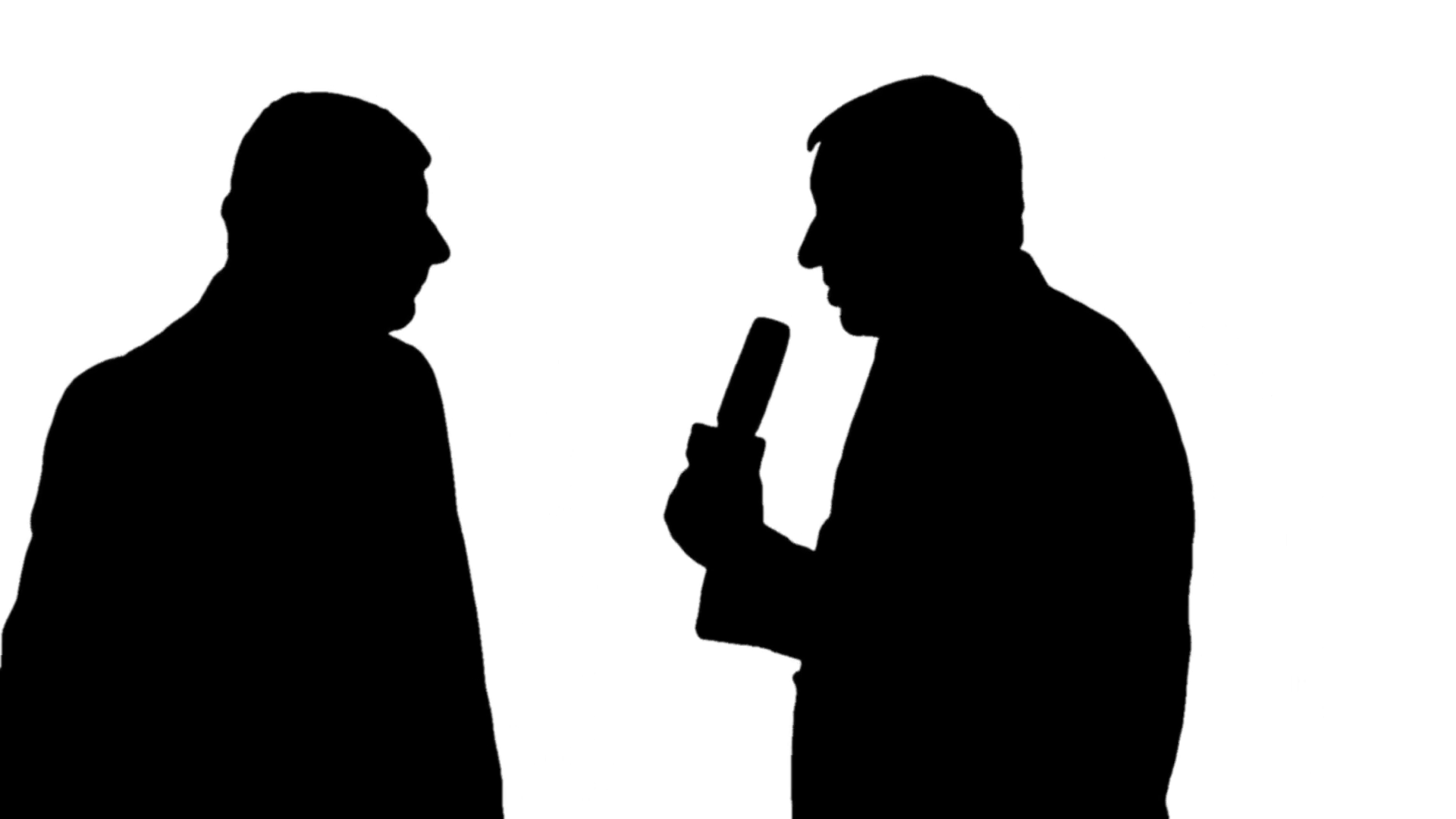 1920x1080 Silhouette Of A News Reporter Interviewing A Man On Black Amp White