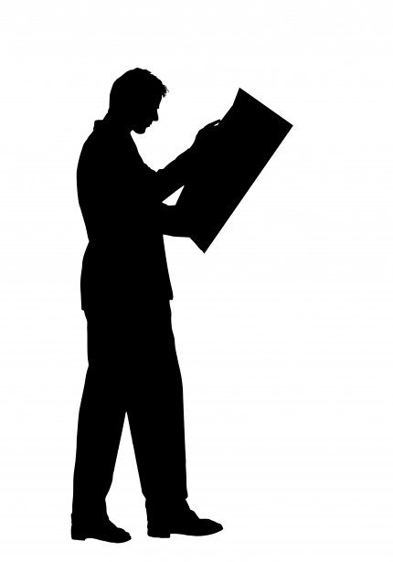430x615 Man Reading Newspaper Silhouette