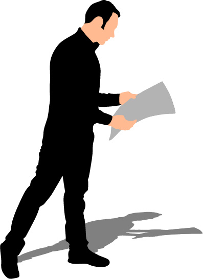 397x546 Man Reading Newspaper Vector Silhouette Free Vector