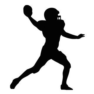 320x320 American Football Player Silhouette Black Vinyl Art Wall Decal