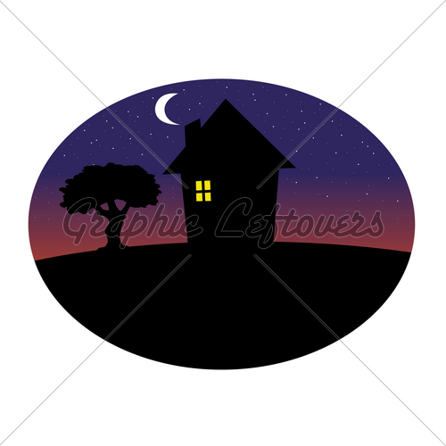 500x500 Home Silhouette Night Gl Stock Images