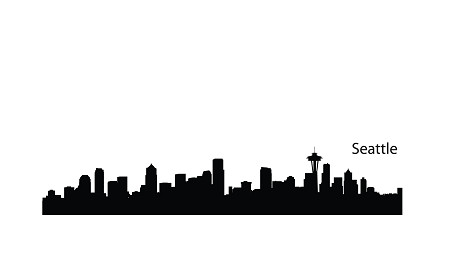 450x270 Use With Van Gogh's Starry Night Seattle Skyline Silhouette