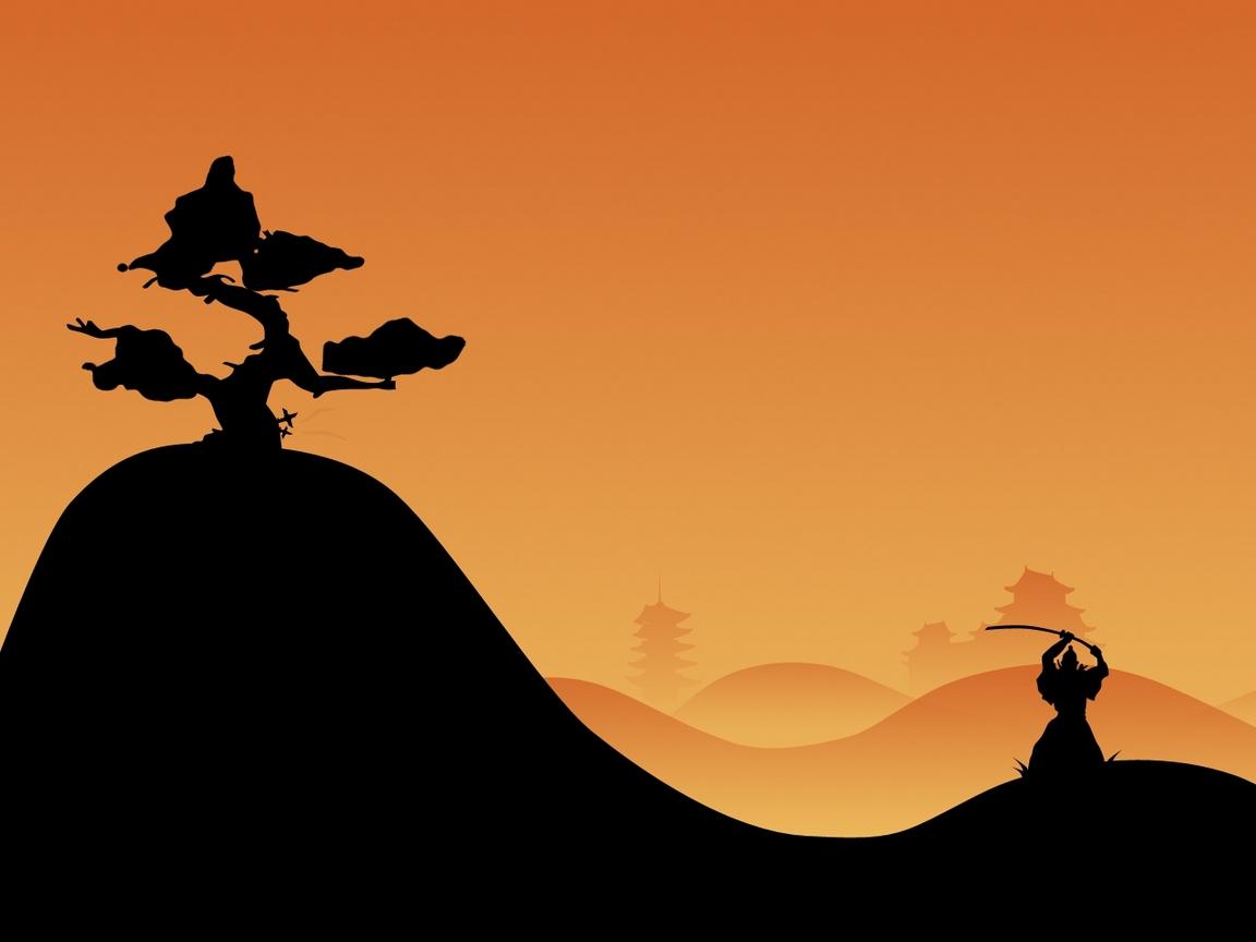 1152x864 Download Wallpaper 1152x864 Samurai, Night, Silhouette Standard 4