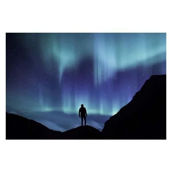 600x600 Laminated Poster Silhouette Aurora Northern Lights Borealis Sky