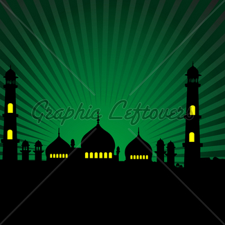325x325 Silhouette Of A Mosque With Crescent Shape Moon Gl Stock Images