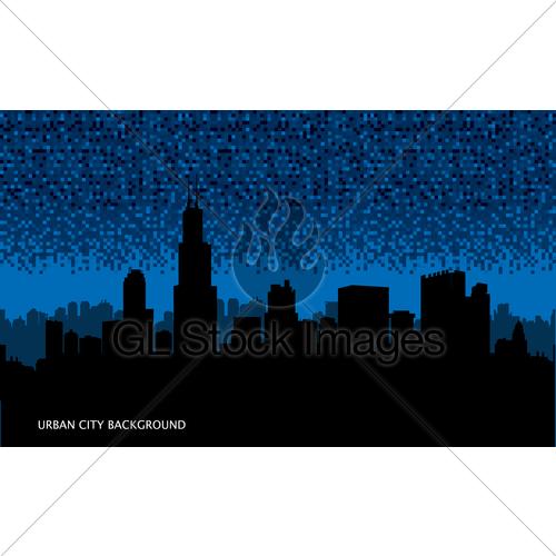 500x500 Urban Cityscape Seamless Background. Night City Silhouett Gl
