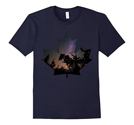 466x436 Maple Leaf Night Sky Forest Silhouette T Shirt Nature