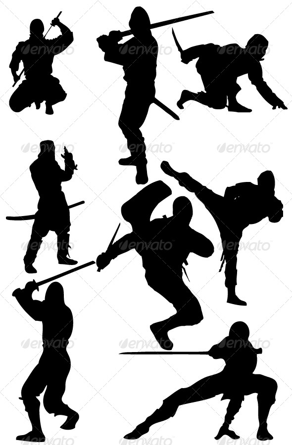 590x900 Ninja Silhouettes By Marjan2 Graphicriver