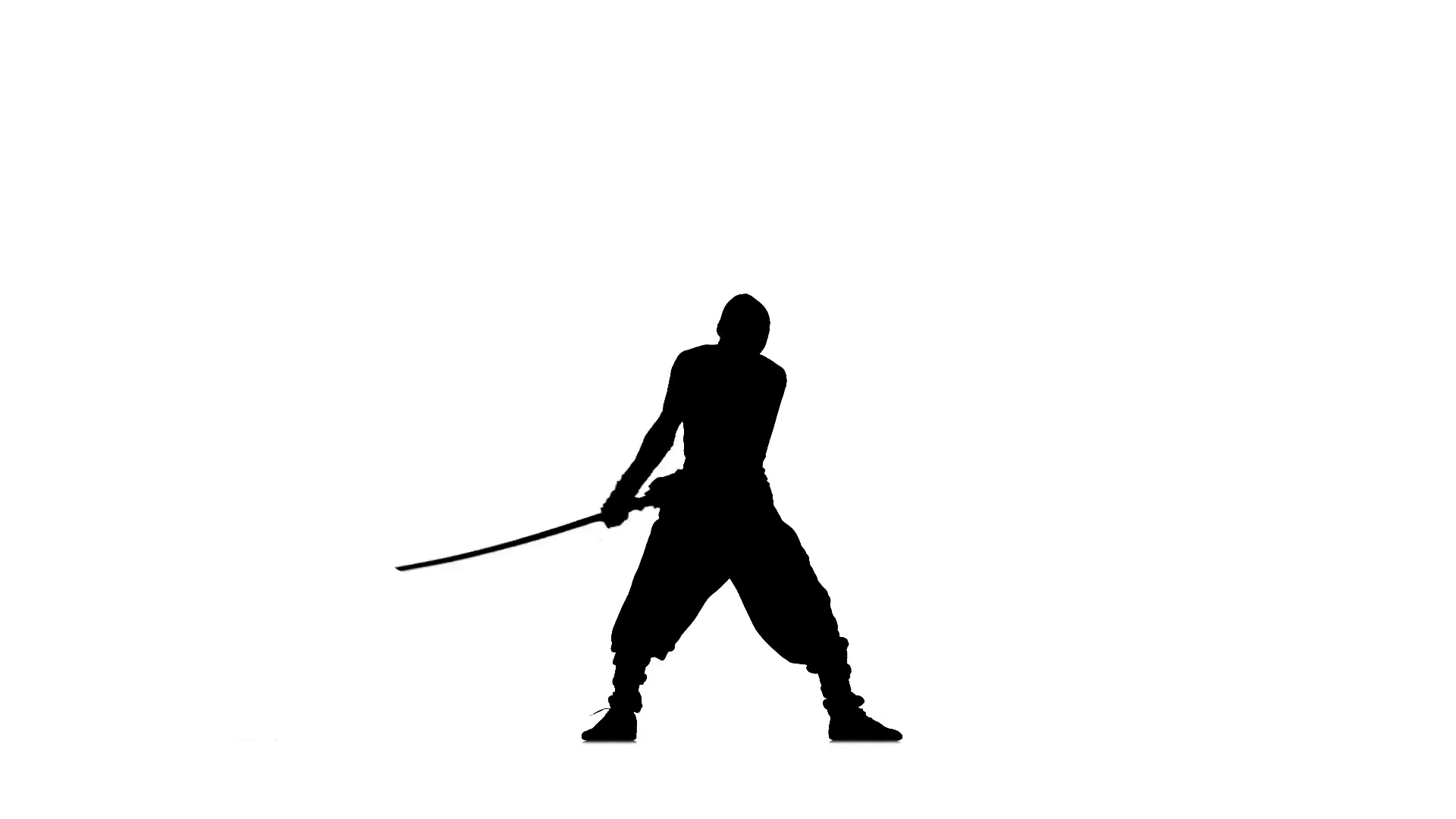 1920x1080 Ninja Stylei. Slhouette Of Man With Sword On White Background