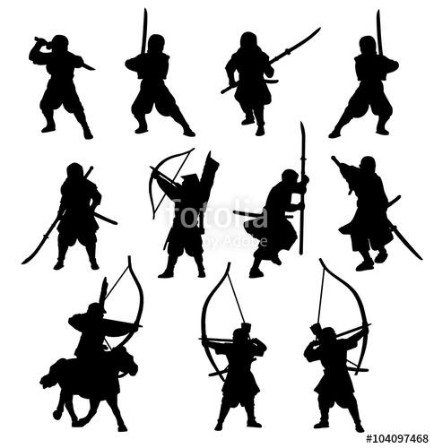 484x500 Ninja And Samurai Silhouette Set Stock Image And Royalty Free