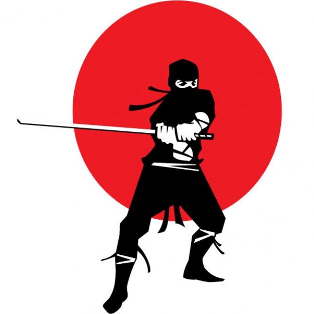 626x626 Ninja With Katana On Japanese Flag Background Vector Free Download