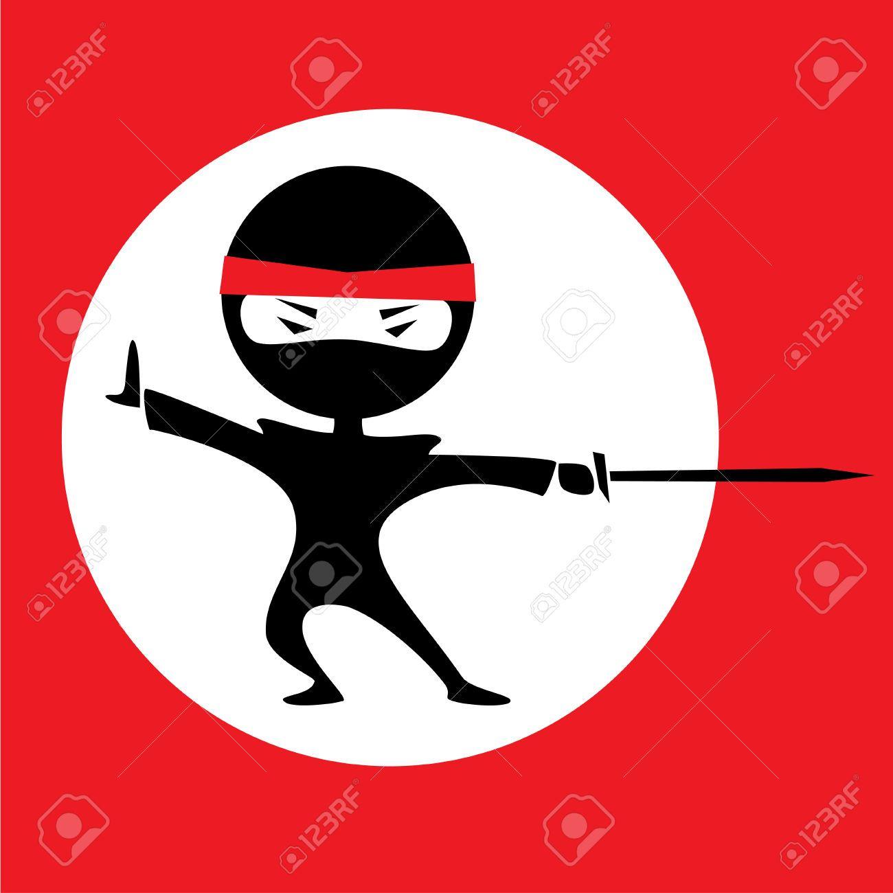 1300x1300 Vector Illustration Of A Cartoon Ninja Holding A Sword. Red