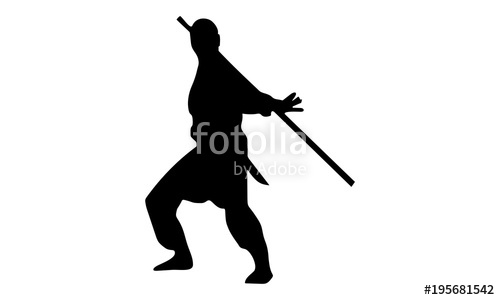 500x300 The Silhouette Of The Male Ninja Acts With A Stick Stock Image
