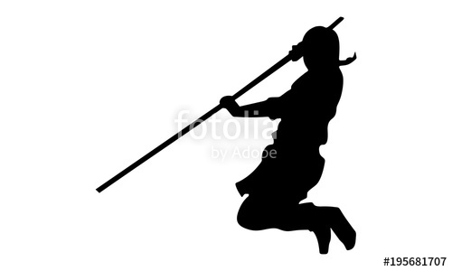500x300 Vector Of The Male Ninja Silhouette With A Stick Stock Image
