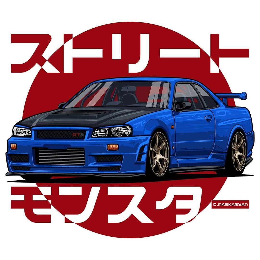 1080x1080 Jdm Godzilla Nissan Skyline Gtr Rough Outline With Tail Lights