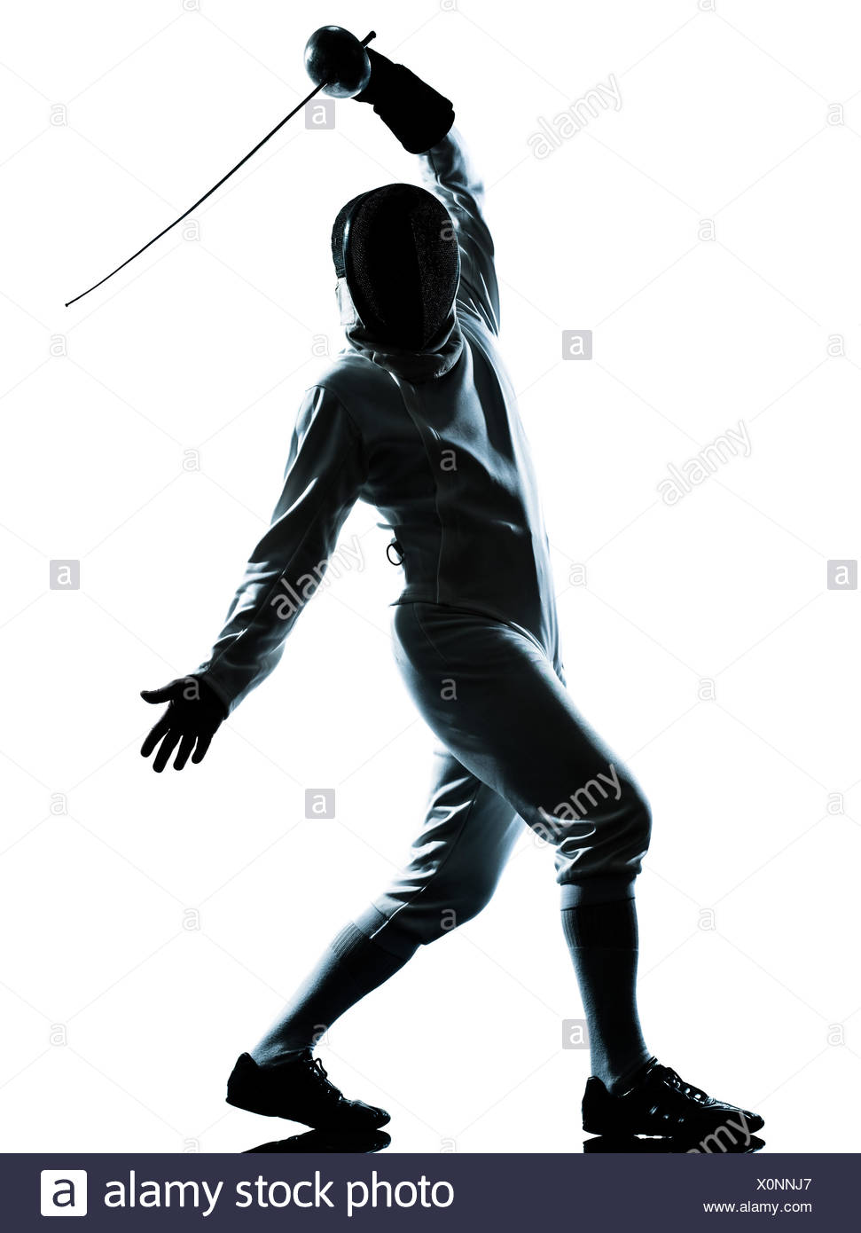 971x1390 One Man Fencing Silhouette In Stock Photos Amp One Man Fencing