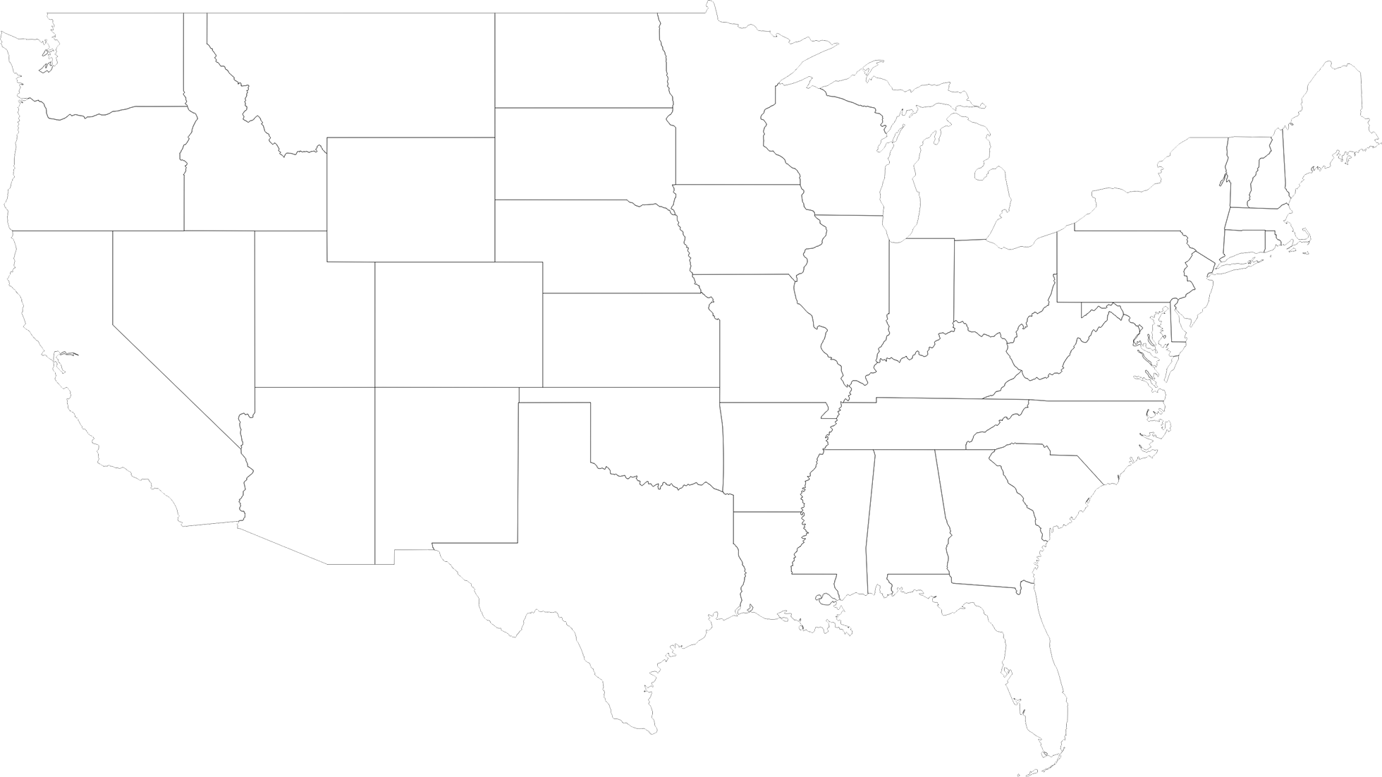 1960x1102 United States Map With Outline Of States