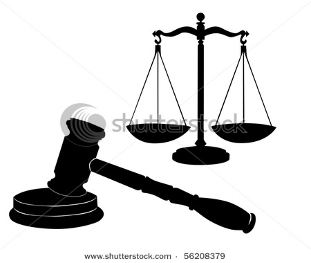 450x380 Symbols Including A Judge's Gavel Or Mallet And The Scales