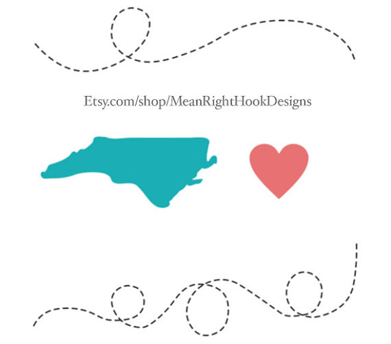 570x502 North Carolina Svg, State Svg, Silhouette, Heart, And Dotted Lines
