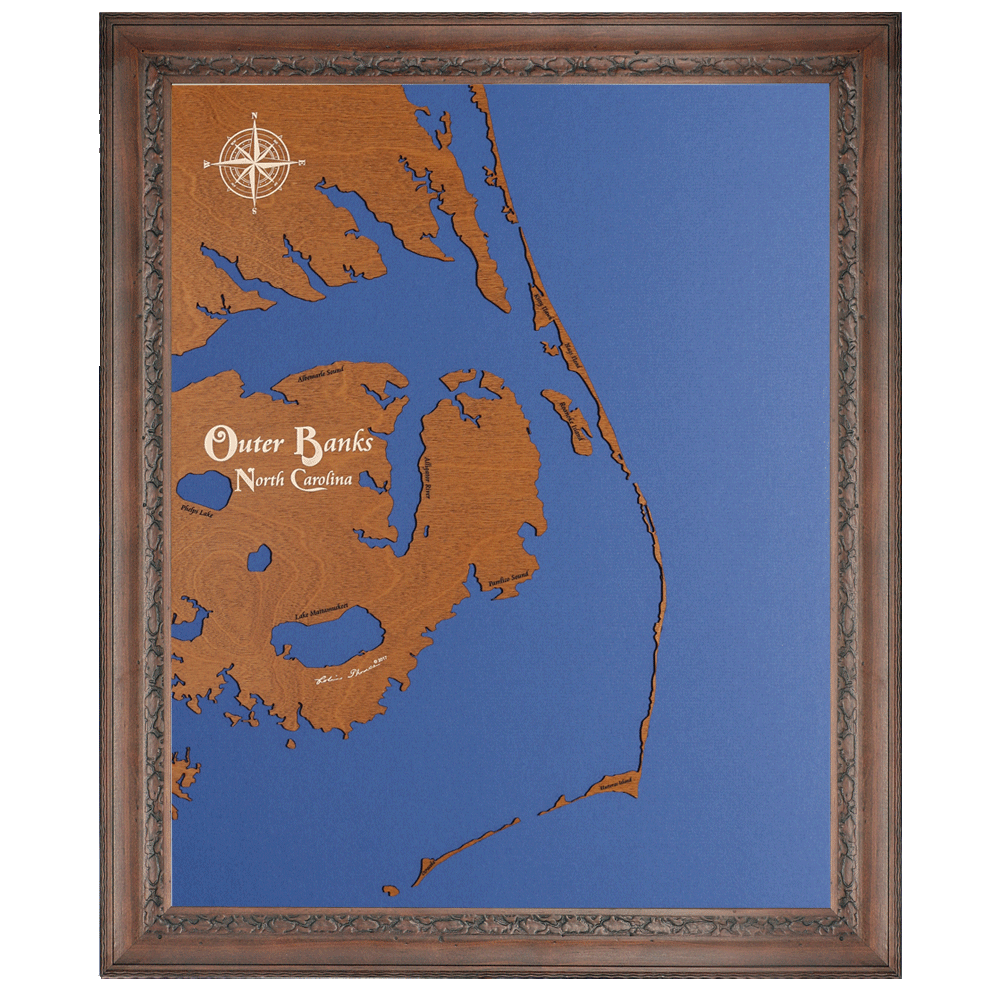 1000x1000 Custom Crafted Silhouettes Engraved Wood Lake Maps North Carolina