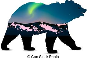 285x194 Silhouette Of Bear. Silhouette Of Brown Bear With Northern