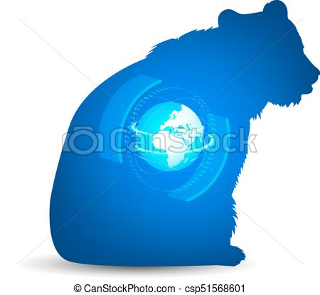 450x415 Silhouette Of Bear. Silhouette Of Sitting Bear With 3d Vector