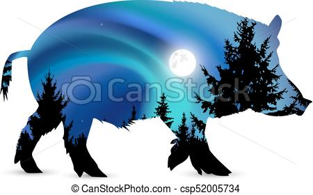 450x280 Silhouette Of Boar With Blue Northern Lights And Moonlight