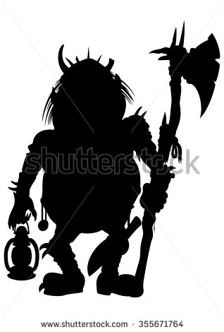318x470 Silhouette Goblin With An Axe And A Lantern. Illustration