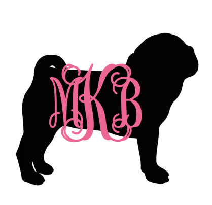 418x404 Monogram Pug Silhouette With Name Decal For Car, Laptop, Cup, Cell