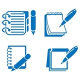 160x160 Notebook Icon Set Silhouette Black Stock Image And Royalty Free