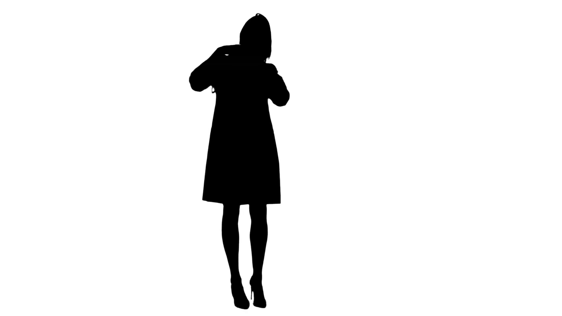 1920x1080 Silhouette Funny Female Nurse Playing With A Stethoscope Stock