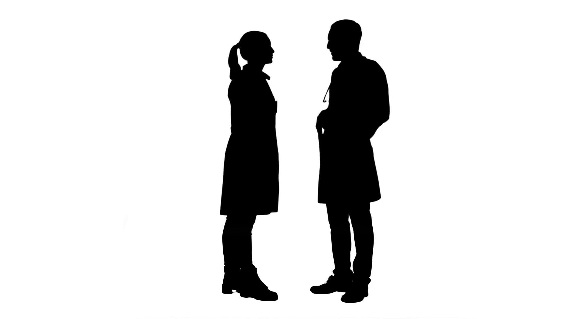1920x1080 Silhouette Happy Doctor And Young Nurse Smiling, Thanking Each