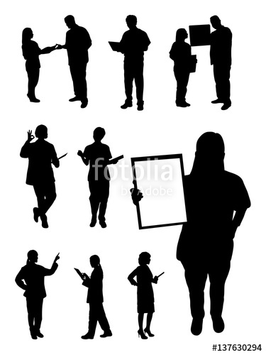 375x500 Doctor And Nurse Gesture Silhouette. Good Use For Symbol, Logo