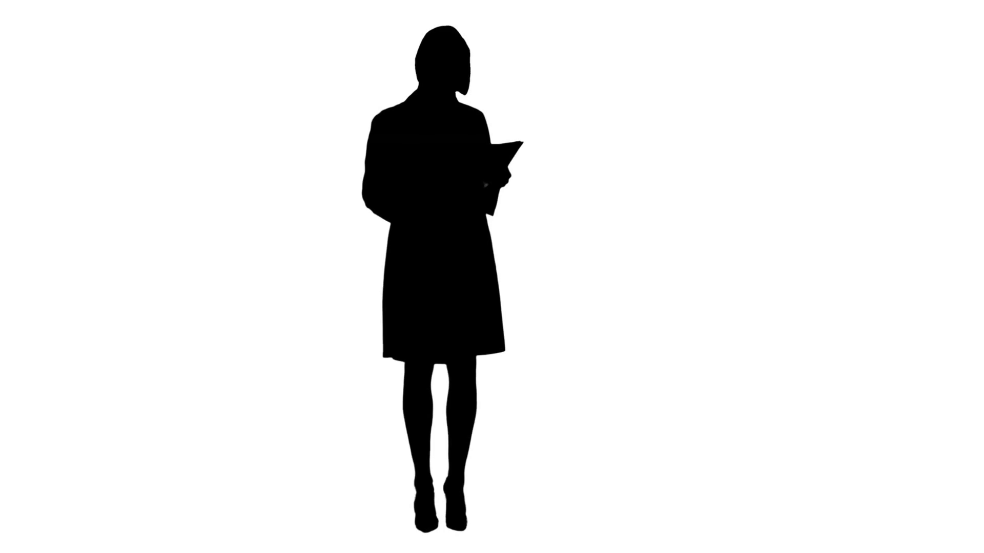 1920x1080 Silhouette Young Nurse Reading Patient Medical History Forms Stock