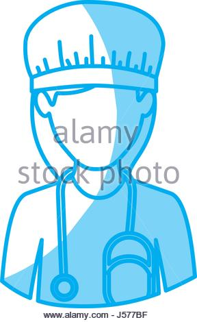 288x470 Blue Silhouette With Half Body Of Faceless Male Dancer Stock