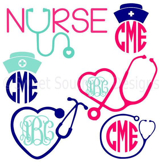 570x570 Nurse Stethoscope Nurse Hat Monogram Set Svg Instant Download