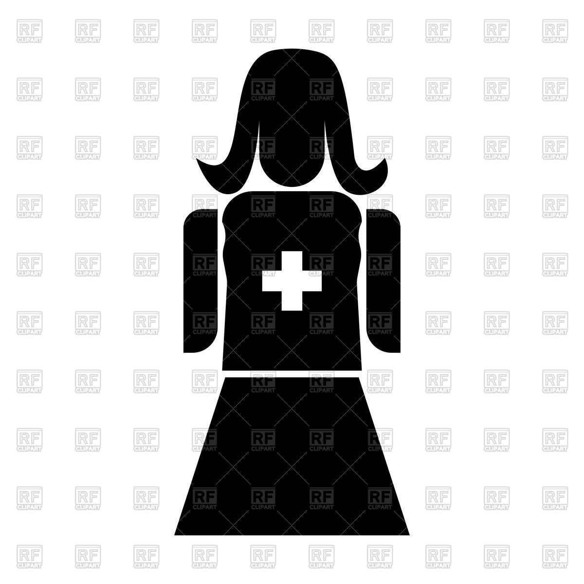 1200x1200 Nurse Black Color Icon Royalty Free Vector Clip Art Image