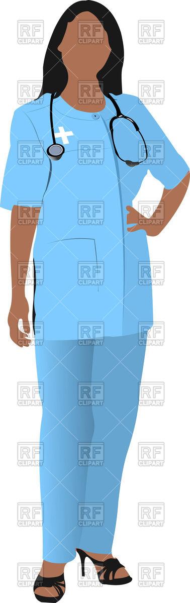 378x1200 Nurse Woman Doctor`s Smock Royalty Free Vector Clip Art Image
