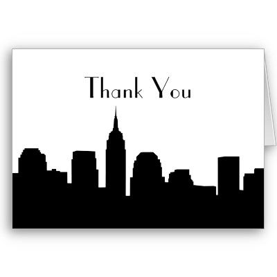 400x400 Nyc Skyline Wedding Thank You Cards Silhouette Tattoos, Nyc
