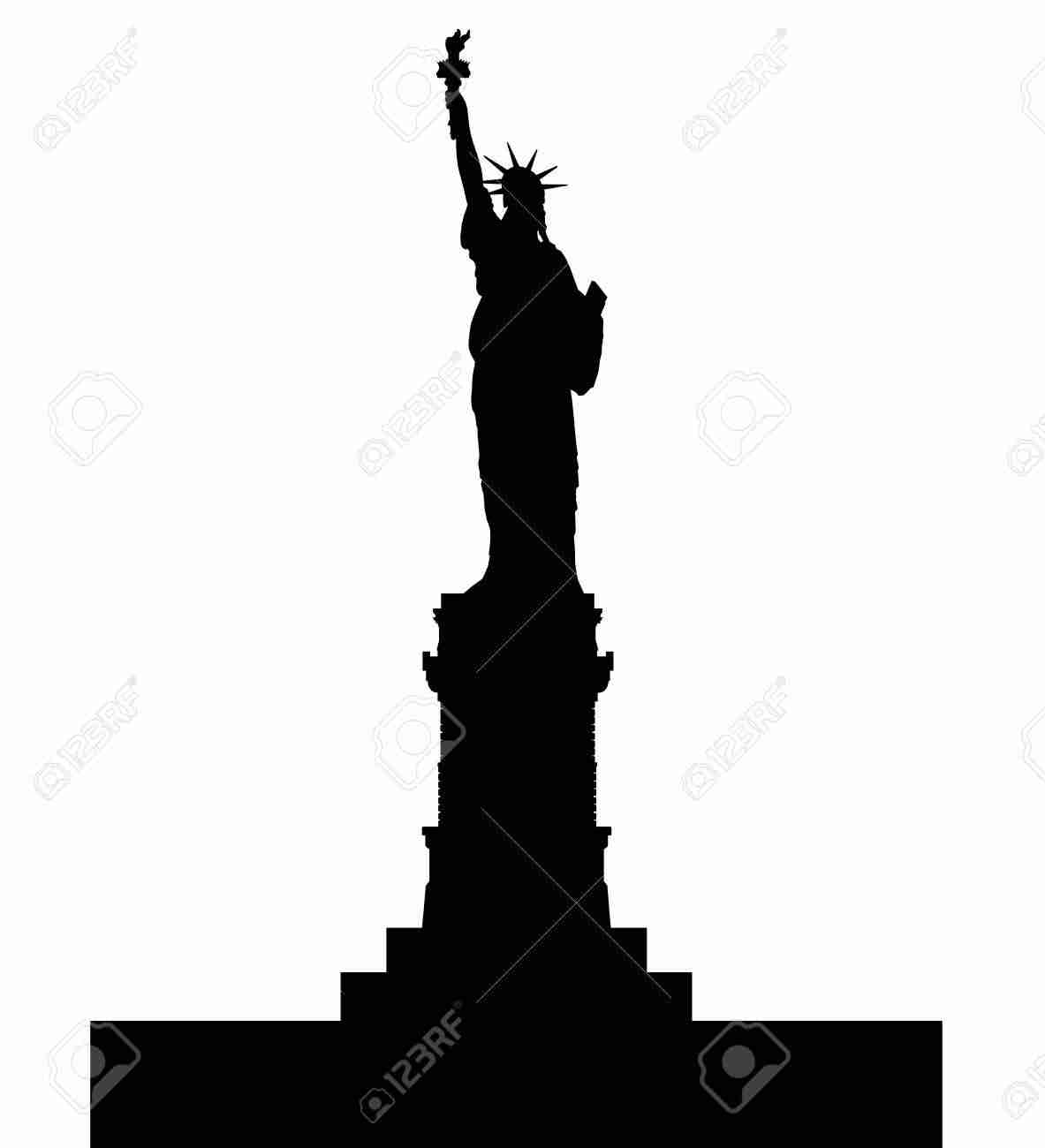 1183x1300 New York Statue Of Liberty Vector Silhouette Stock Noticeable