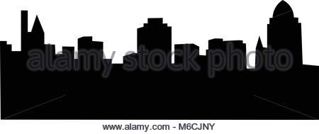 450x189 Skyline Silhouette Of The City Of Cincinnati, Ohio, Usa Stock