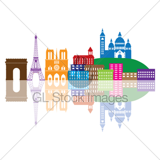 325x325 Paris Skyline In French Flag Color Illustration Gl Stock Images