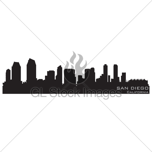 500x500 San Diego, California Skyline. Detailed Vector Silhouette Gl