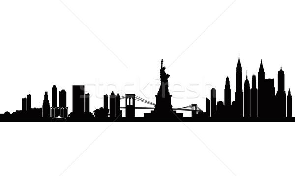 600x359 New York City Skyline Detailed Silhouette Vector Illustration